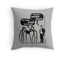 Cartoon: Horrible Beast / Don't judge a book by its cover! Throw Pillow
