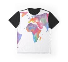 Watercolor World Map Atlas  Graphic T-Shirt