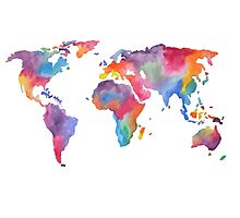 Watercolor World Map Atlas  Photographic Print