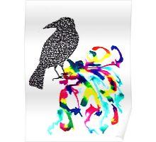 Calligraphic Crow Poster