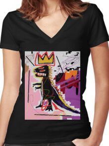 Basquiat Women's Fitted V-Neck T-Shirt