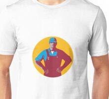Organic Farmer Overalls Akimbo Circle Retro Unisex T-Shirt