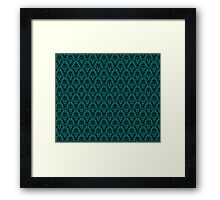 Cosmic Damask Black on Turquoise Framed Print