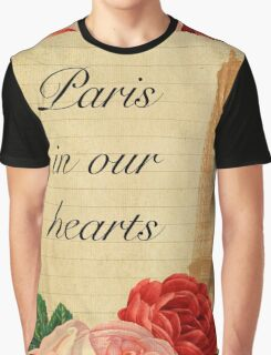 Paris in our hearts,vintage,rustic,grunge,collage,roses,pink,red Graphic T-Shirt
