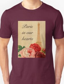 Paris in our hearts,vintage,rustic,grunge,collage,roses,pink,red Unisex T-Shirt