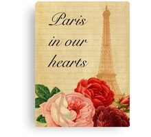 Paris in our hearts,vintage,rustic,grunge,collage,roses,pink,red Canvas Print