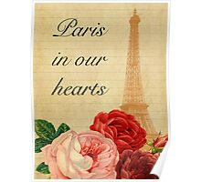 Paris in our hearts,vintage,rustic,grunge,collage,roses,pink,red Poster
