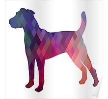 Parson Terrier - Colorful Geometric Pattern - Pink Poster
