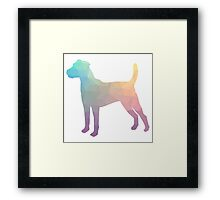 Parson Terrier - Colorful Geometric Pattern - Pastel Framed Print