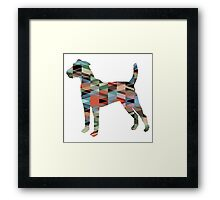 Parson Terrier - Colorful Geometric Pattern - Plaid Framed Print