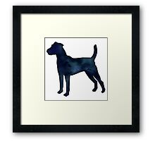 Parson Terrier - Black Watercolor Silhouette Framed Print