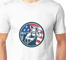 Welder Looking Side USA Flag Circle Retro Unisex T-Shirt