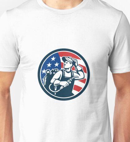 Welder Looking Side USA Flag Circle Retro Unisex T-Shirt