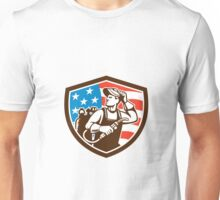 Welder Looking Side USA Flag Crest Retro Unisex T-Shirt