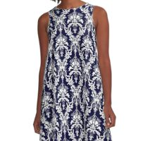 Cosmic Damask White on Navy A-Line Dress