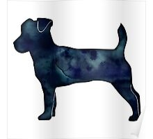 Jack Russell Terrier - Black Watercolor Silhouette Poster