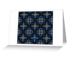 Kaleidoscope Golden Blue Greeting Card