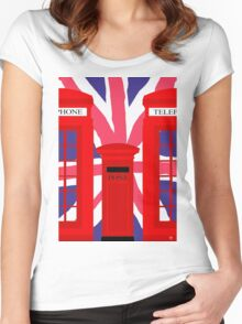 LONDON TELEPHONE BOX and POST BOX Women's Fitted Scoop T-Shirt