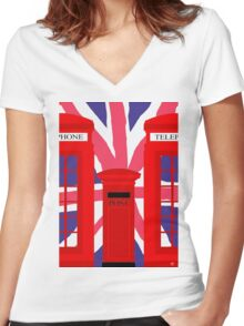 LONDON TELEPHONE BOX and POST BOX Women's Fitted V-Neck T-Shirt