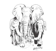 "Elephants holding ""hands"" by Miss8Cake"