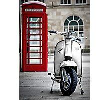Italian White Lambretta GP Scooter Photographic Print
