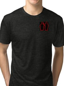 red and black guns for hands silhouette  Tri-blend T-Shirt