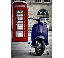 Italian Blue Lambretta GP Scooter Photographic Print