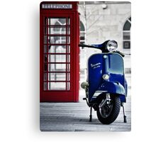 Italian Blue Vespa Rally 200 Scooter Canvas Print