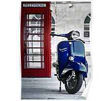 Italian Blue Vespa Rally 200 Scooter Poster