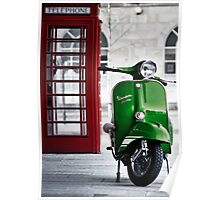Italian Green Vespa Rally 200 Scooter Poster