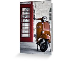 Italian Orange Vespa Rally 200 Scooter Greeting Card