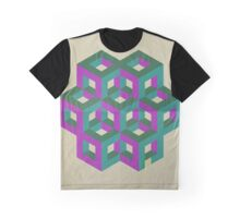Trendy,70's,retro,geometry,art,cubes,green,teal,purple,modern,trendy Graphic T-Shirt