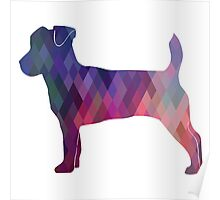 Jack Russell Terrier - Colorful Geometric Pattern - Pink Poster