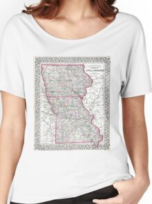 Vintage Iowa and Missouri Map (1874) Women's Relaxed Fit T-Shirt