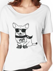 Hipster Corgi - Cute Dog Cartoon Character - Corgis Rule Women's Relaxed Fit T-Shirt