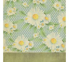 Rustic,floral,sunflower,pattern,vintage,grunge,baby blue,white,small polka dots,trendy,modern Photographic Print