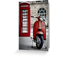 Italian Red Lambretta GP Scooter Greeting Card