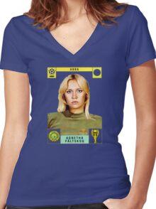 Agnetha Faltskog from Abba retro football team design!~ Women's Fitted V-Neck T-Shirt