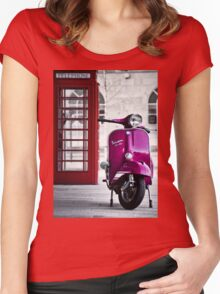 Italian Pink Vespa Rally 200 Scooter Women's Fitted Scoop T-Shirt