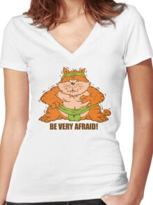 Sumo Wrestling Fat Cat Women's Fitted V-Neck T-Shirt