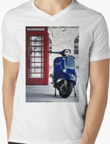 Italian Blue Vespa Rally 200 Scooter Mens V-Neck T-Shirt