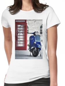 Italian Blue Vespa Rally 200 Scooter Womens Fitted T-Shirt