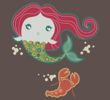 Lil' Red Mermaid and Lobster Baby Tee