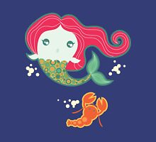 Lil' Red Mermaid and Lobster Womens Fitted T-Shirt