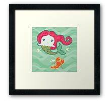 Lil' Red Mermaid and Lobster Framed Print
