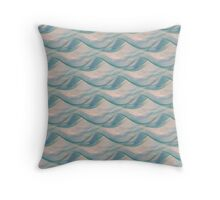 Ocean Waves in Water Colors of Aqua, Seafoam and Blue Throw Pillow