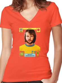 Benny Andersson from Abba retro football team design!~ Women's Fitted V-Neck T-Shirt
