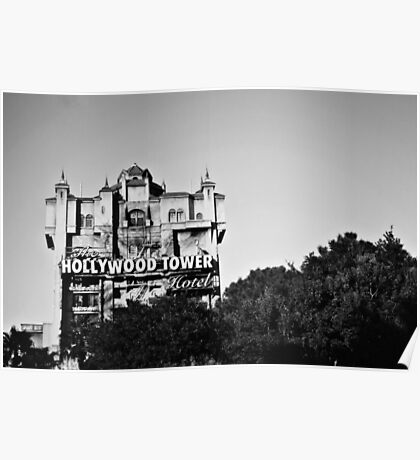 Hollywood Tower Hotel (Black & White) Poster