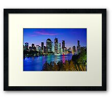 Brisbane City View from Kangaroo Point Cliffs Framed Print