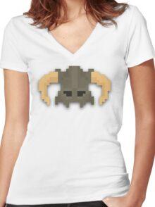 Dovakhiin 8bit Women's Fitted V-Neck T-Shirt